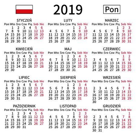 2019 year calendar. Simple, clear and big. Polish language. Week starts on Monday. Saturday and Sunday highlighted. No holidays. Vector illustration. EPS 8, no gradients, no transparency Ilustrace