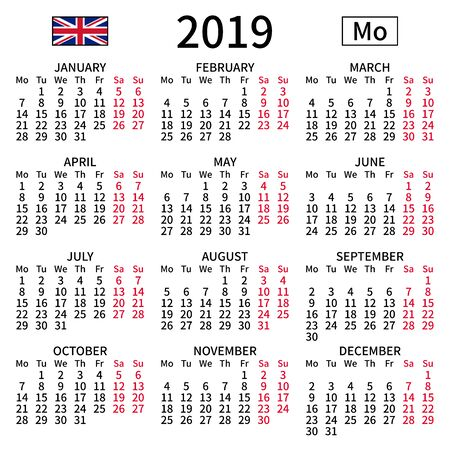 2019 year calendar. Simple, clear and big. English language. Week starts on Monday. Saturday and Sunday highlighted. No holidays. Vector illustration. EPS 8, no gradients, no transparency