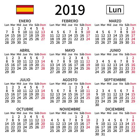 2019 year calendar. Simple, clear and big. Spanish language. Week starts on Monday. Sunday highlighted. No holidays. Vector illustration. EPS 8, no gradients, no transparency