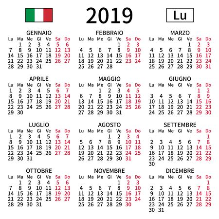 2019 year calendar. Simple, clear and big. Italian language. Week starts on Monday. Saturday and Sunday highlighted. No holidays. Vector illustration. EPS 8, no gradients, no transparency