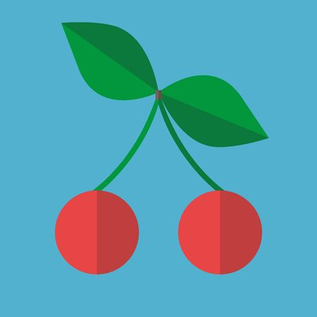Pair of red ripe cherries with green leaves and twig isolated on blue background. Flat design. Vector illustration. No gradients, no transparency Çizim
