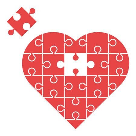 Red heart assembled from puzzles with one missing piece isolated on white background. Love, marriage and charity concept. Flat design. Vector illustration. EPS 8, no gradients, no transparency 向量圖像