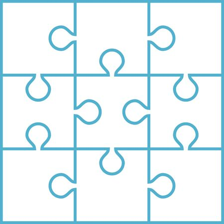 White nine joined jigsaw puzzle pieces isolated on blue background. Teamwork, cooperation and solution concept. Flat design. Vector illustration. No gradients, no transparency