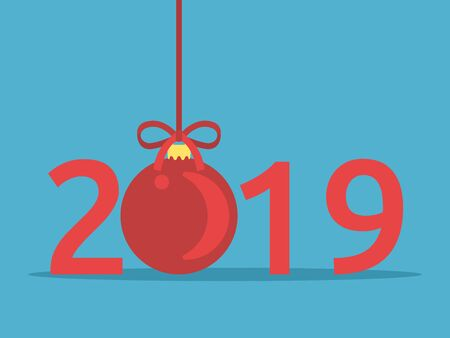 Happy New Year 2019 with red shiny Christmas ball on blue background. New Year and Christmas concept. Flat design. Vector illustration. No gradients, no transparency