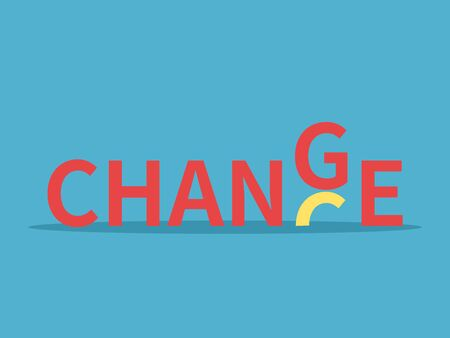 Word chance transforming into change on blue background. Success, opportunity and beginning concept. Flat design. Vector illustration. No gradients, no transparency