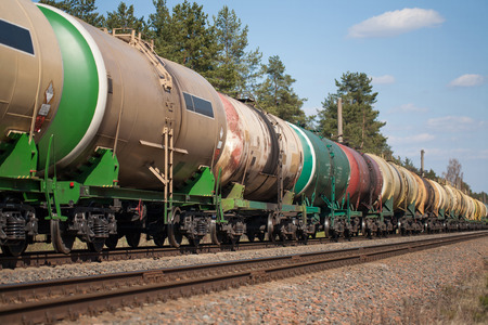 goods train: The train tanks with oil and fuel