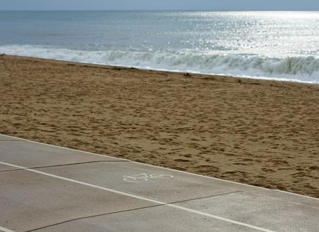 bikeway: Bicycle lane along sea Stock Photo