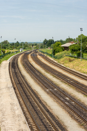 switches: Multiple railway tracks and switches Stock Photo