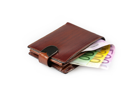 maroon leather: Wallet with euro banknotes on white background