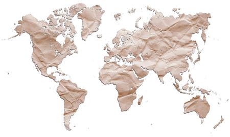 Paper world map Banque d'images
