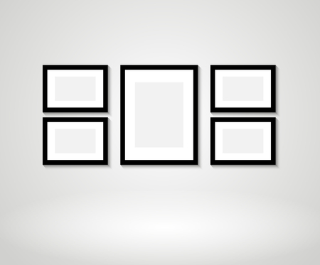 blank photo: Vector picture frames on wall Illustration