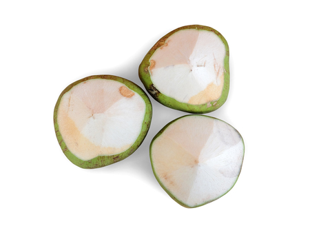 tropical drink: Green coconuts on white background Stock Photo