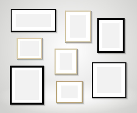 Vector picture frames on wall Çizim