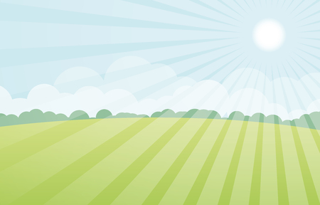 sun with green landscape vector Illusztráció