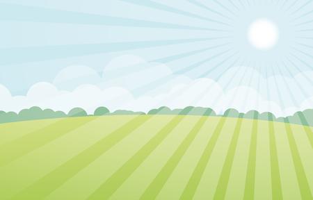 pastoral: sun with green landscape vector Illustration
