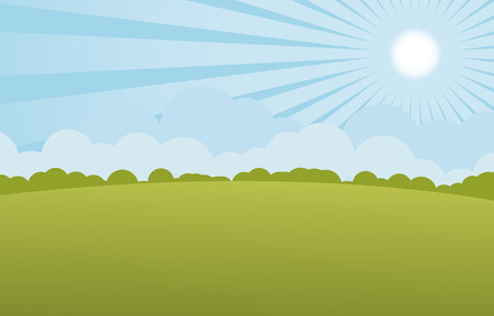 sun with green landscape vector Иллюстрация