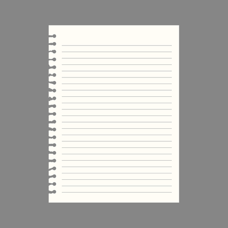 college ruled: Notebook paper with lines, vector Illustration
