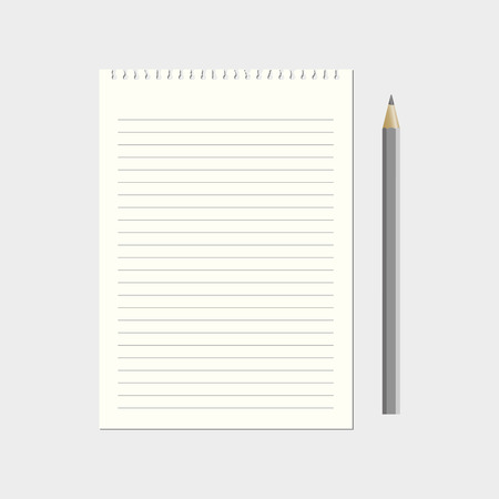 lined: Lined paper with pencil vector