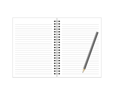 writing pad: notebook and pencil on white background