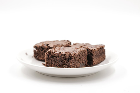 Chocolate Brownie isolated on white background Banque d'images
