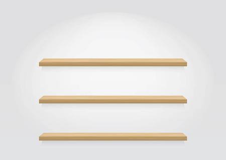 Empty wood shelf. vector Ilustração