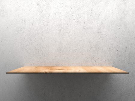 furniture store: Wooden empty shelf