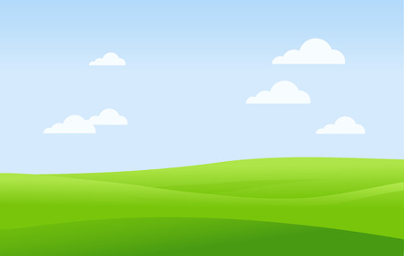 Green landscape and blue sky vector