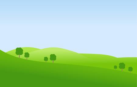 Green landscape and blue sky vector Vektoros illusztráció