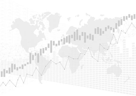 Grafico del grafico del bastone di candela nel mercato finanziario con la mappa di mondo, concetto grafico commerciale dei forex, vettore Vettoriali