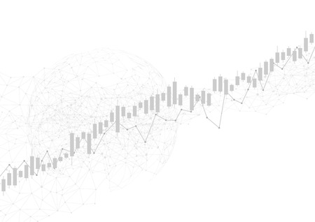 Candle stick graph chart in financial market with world, Forex trading graphic concept, vector