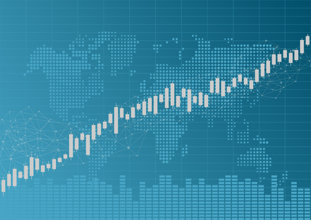Arrow with Candle stick graph chart in financial market with world map, Forex trading graphic concept, vector