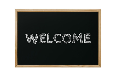 welcome word written black chalkboard on white background