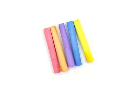 color chalk on white background