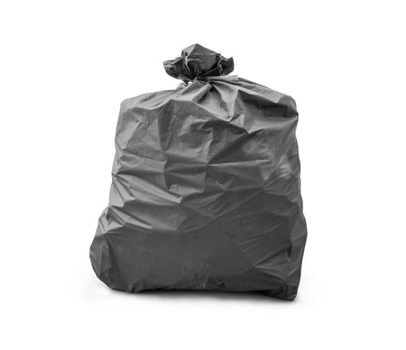 Black trash bag on white background Zdjęcie Seryjne