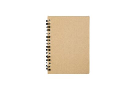 Brown notebook on white background Banque d'images