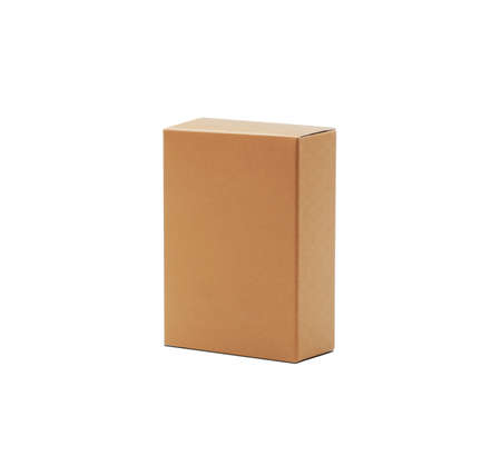 Brown box on white background Banque d'images