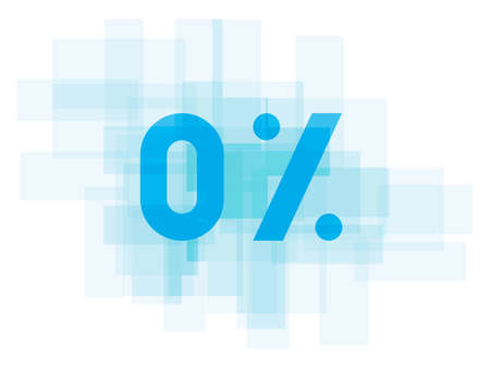 Double exposure number on white background. Vector illustration. Blue color double exposure texture. Market value percentages indicate growth and lose.