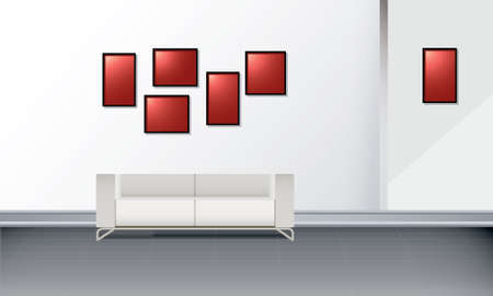 White interior. Vector illustration of white wall with photo frames and sofa.