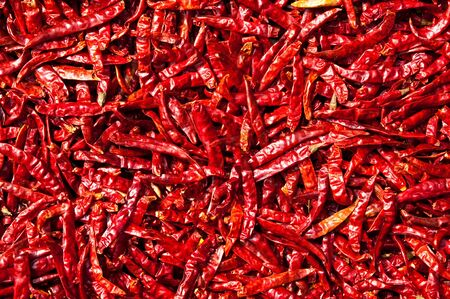 hot peppers: Red chili drying in the sun,Thailand Stock Photo