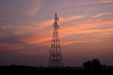 Twilight electric pillar,Thailand