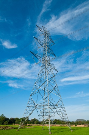 High Voltage Electricity Pillar and sky Stock Photo