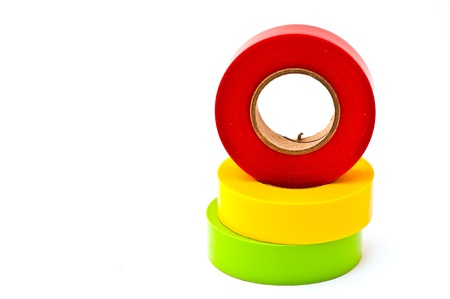 colors electrician tape on the white background photo
