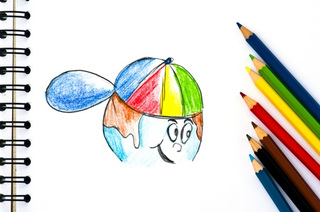 color pencils on sketch book Stock Photo