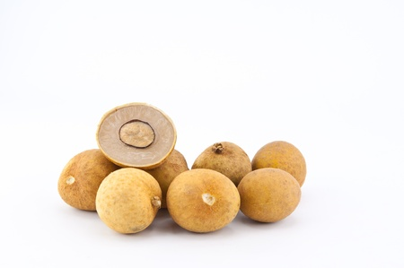 longan tropical fruit on the white background