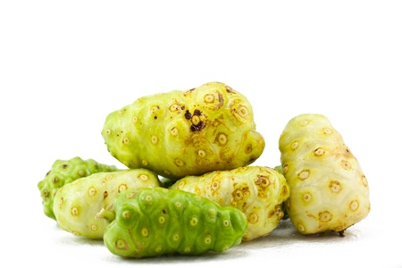 noni fruit on a white background,Thailand