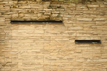 water feature: sandstone waterfall wall without water