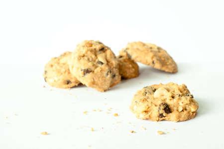cashew nut and raisin cookies on the white floor Stock Photo