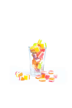small dry jelly with sugar in glass