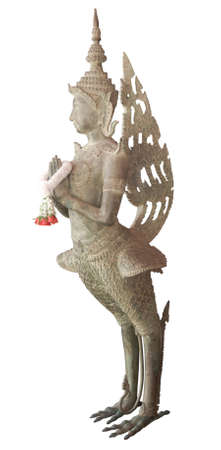 rust bronze sculpture of half woman and half bird kinaree Stock Photo
