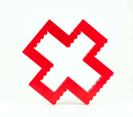 stack of red toy pieces to the calculate time sign Stock Photo - 12686376